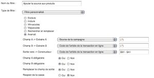 filtre Google Analytics Ajout de la Source au Code Produit