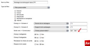Google Analytics stockage dans Champ Personnalisé 1