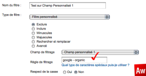 Google Analytics test du Champ Personnalisé 1
